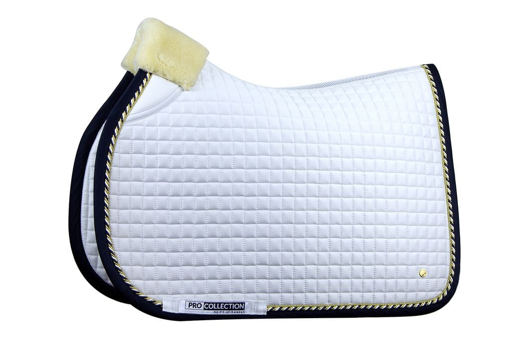 pro white and navy jump saddle pad