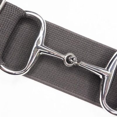 Charcoal silver snaffle bit belt
