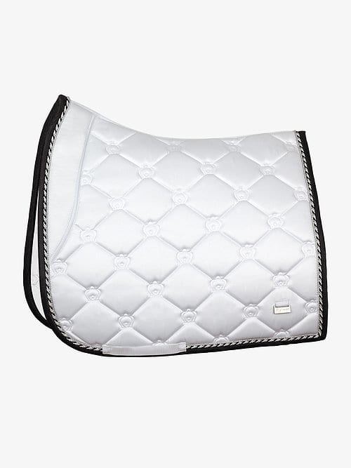 White saddle pad dressage winning round
